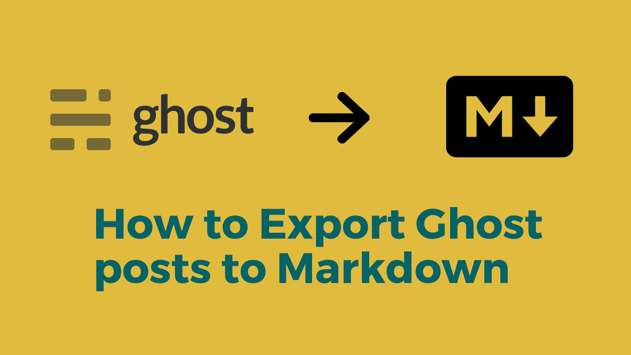 How to export Ghost posts to Markdown?